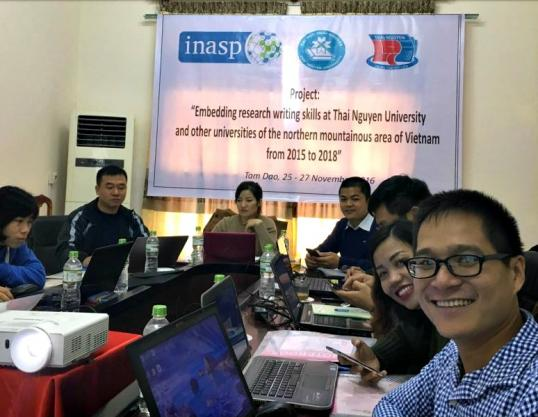 Enthusiastic participants at online training workshop in Vietnam in November 2016